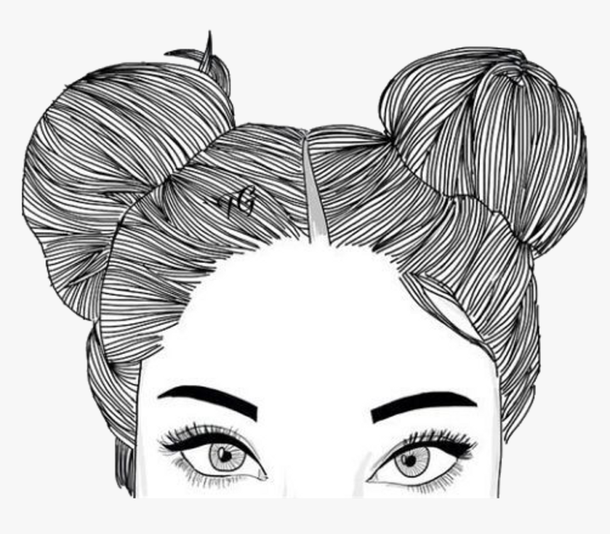 Png Tumblr Hipster - Half Face Girl Drawing, Transparent Png ...