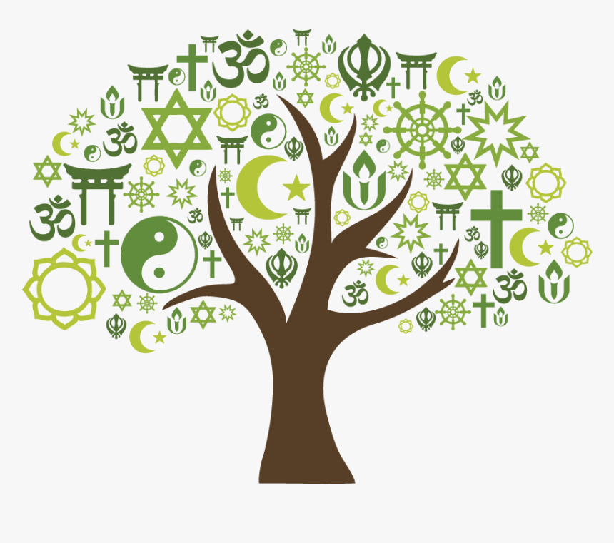 Tree With Interfaith Symbols - Interfaith Tree, HD Png Download , Transparent Png Image - PNGitem