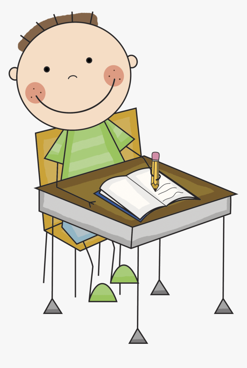 Child Writing At Desk Clipart - Student Working Clipart, HD Png ...