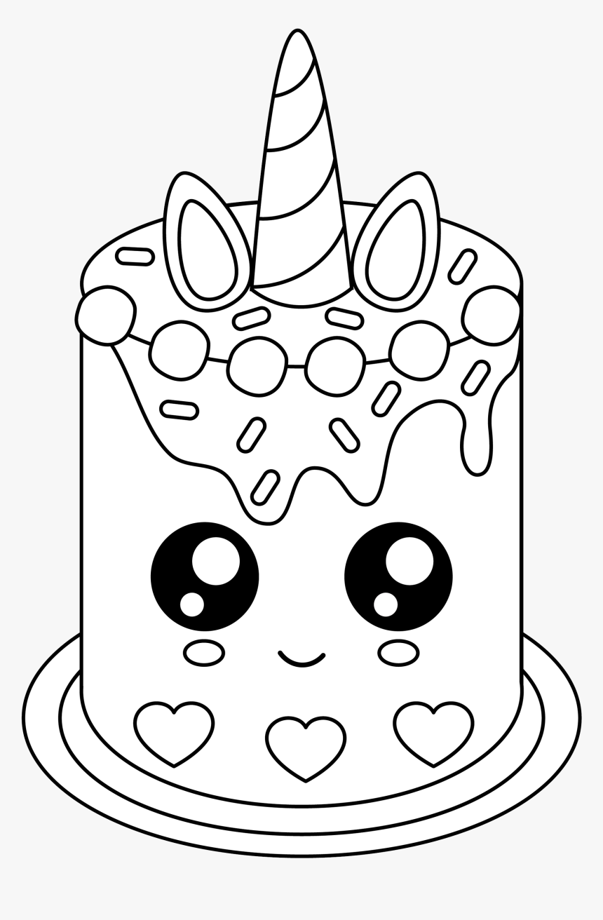 Unicorn Cake Coloring Pages , Transparent Cartoons - Cute ...