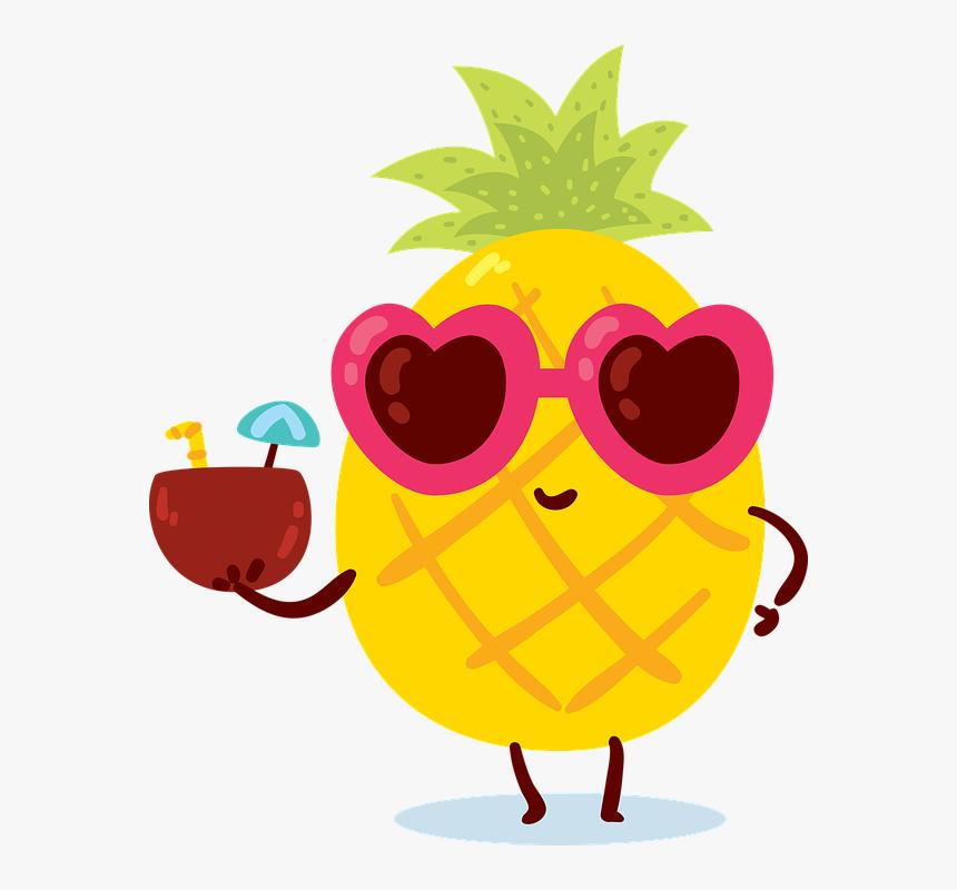Verao Abacaxi Amarelo Mar Frutas Animadas Hd Png Download