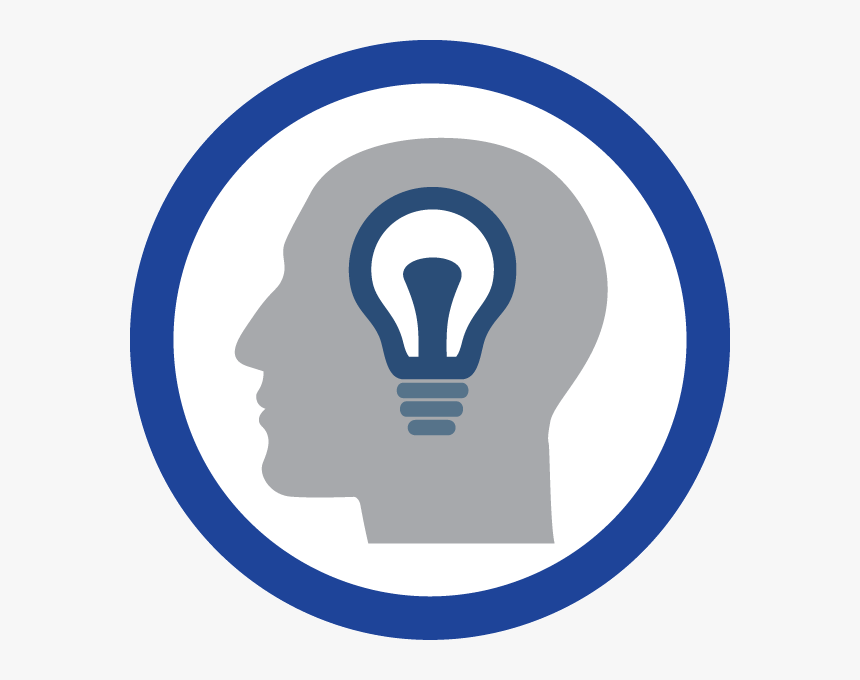 Blue Circle With Head And Light Bulb Inside - Theories Icon, HD Png Download , Transparent Png Image - PNGitem