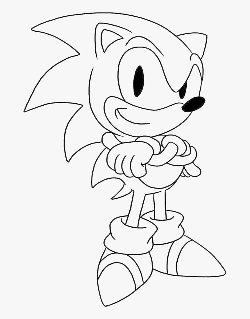 Sonic Is Being Issued A Thumbs Up The Hand Coloring Classic Sonic Coloring Pages Hd Png Download Transparent Png Image Pngitem