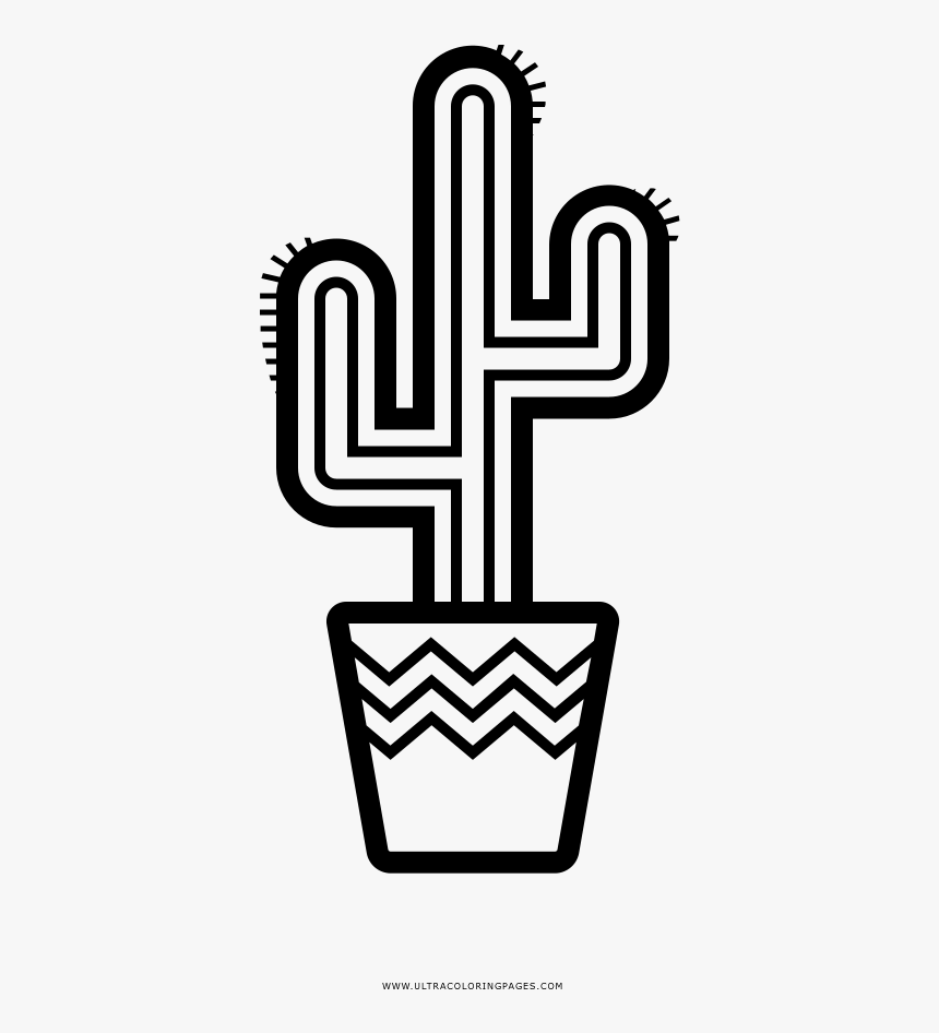 Cactus In Pot Outline Hd Png