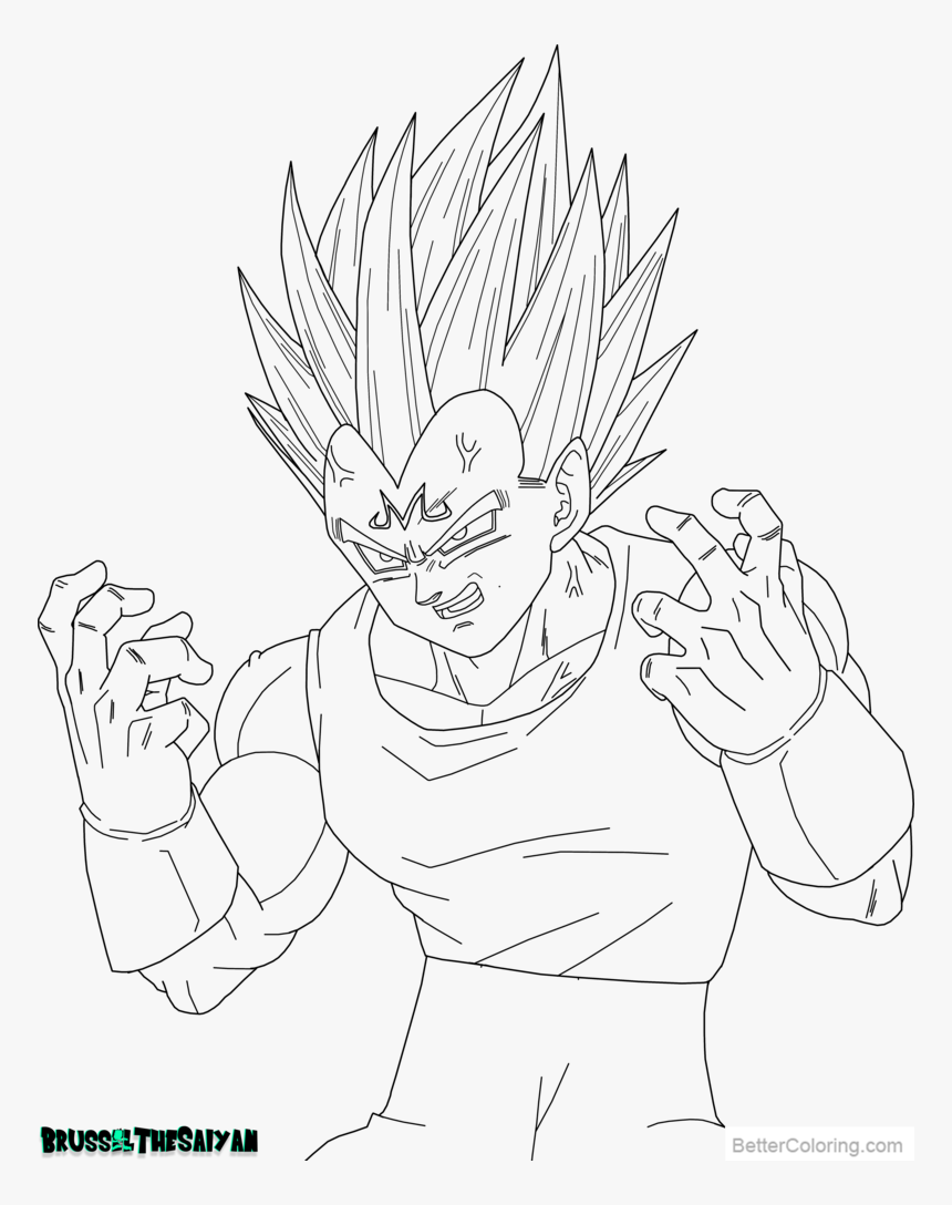 - Free Majin Vegeta Coloring Pages Lineart By Brusselthesaiyan