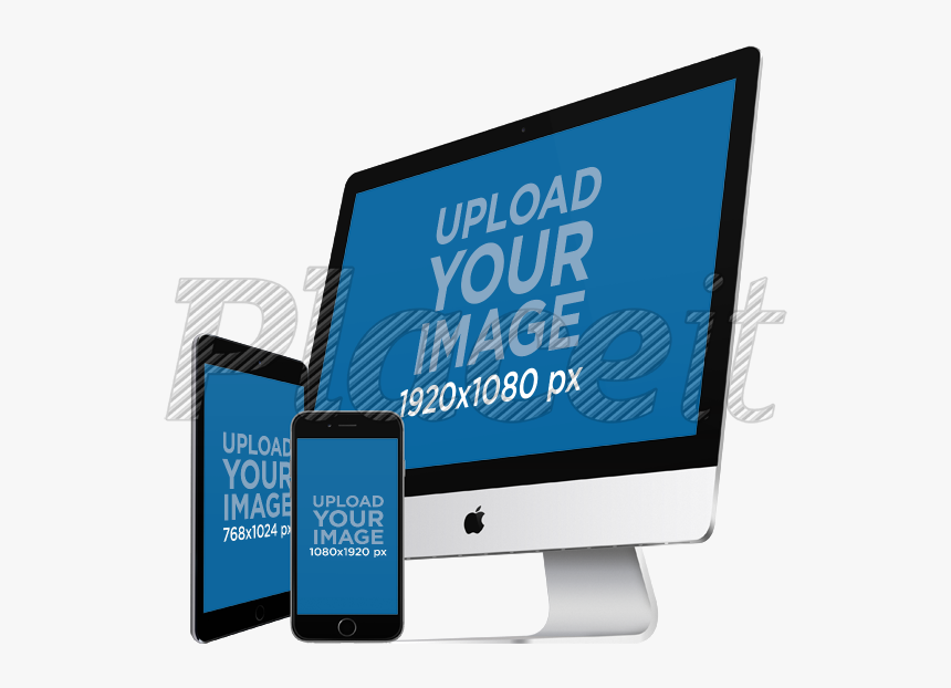 Placeit Angled Ipad And Ipad Iphone Imac Mockup Hd Png Download