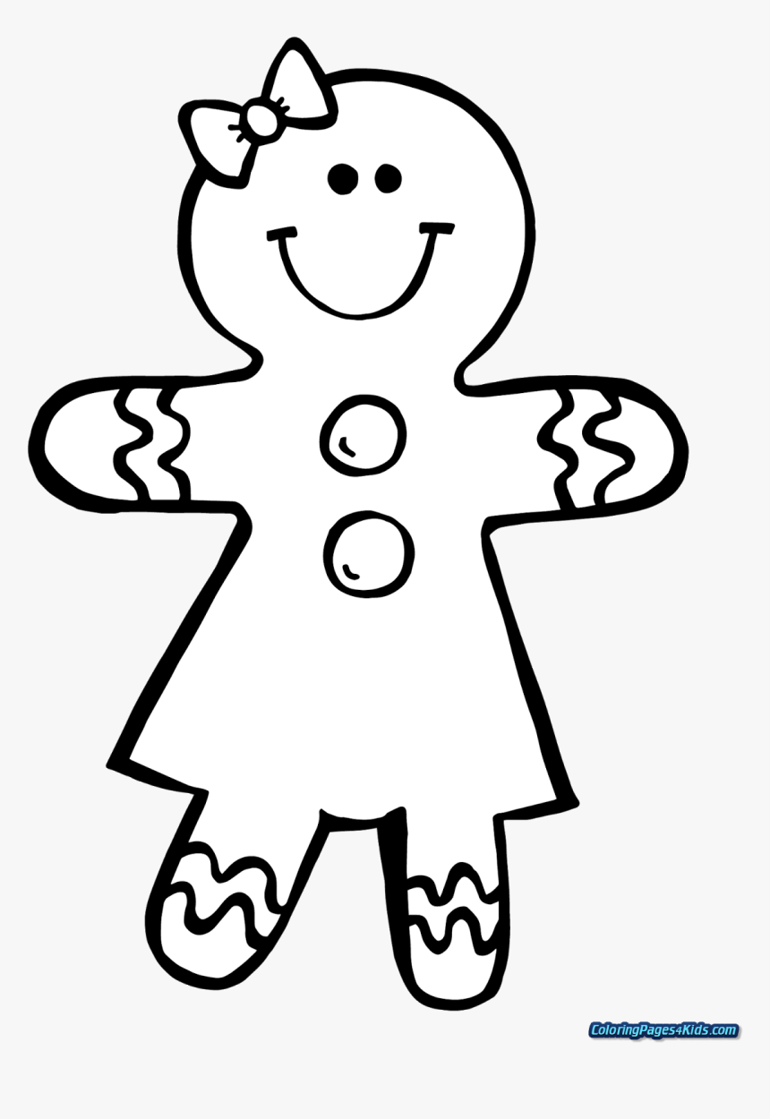 Gingerbread Girl Coloring Pages, HD Png Download , Transparent Png