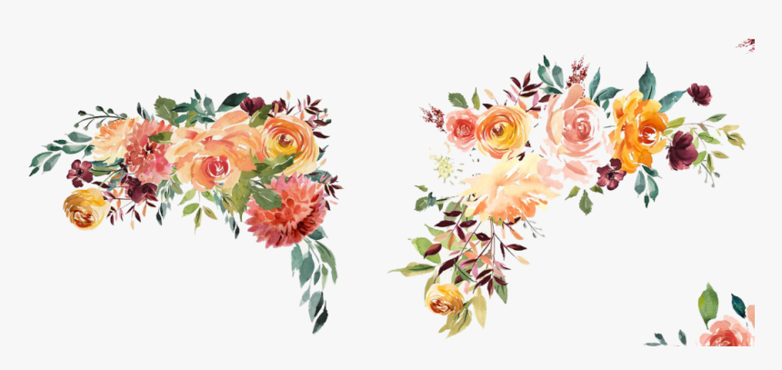 Watercolor Floral Borders Png , Transparent Background