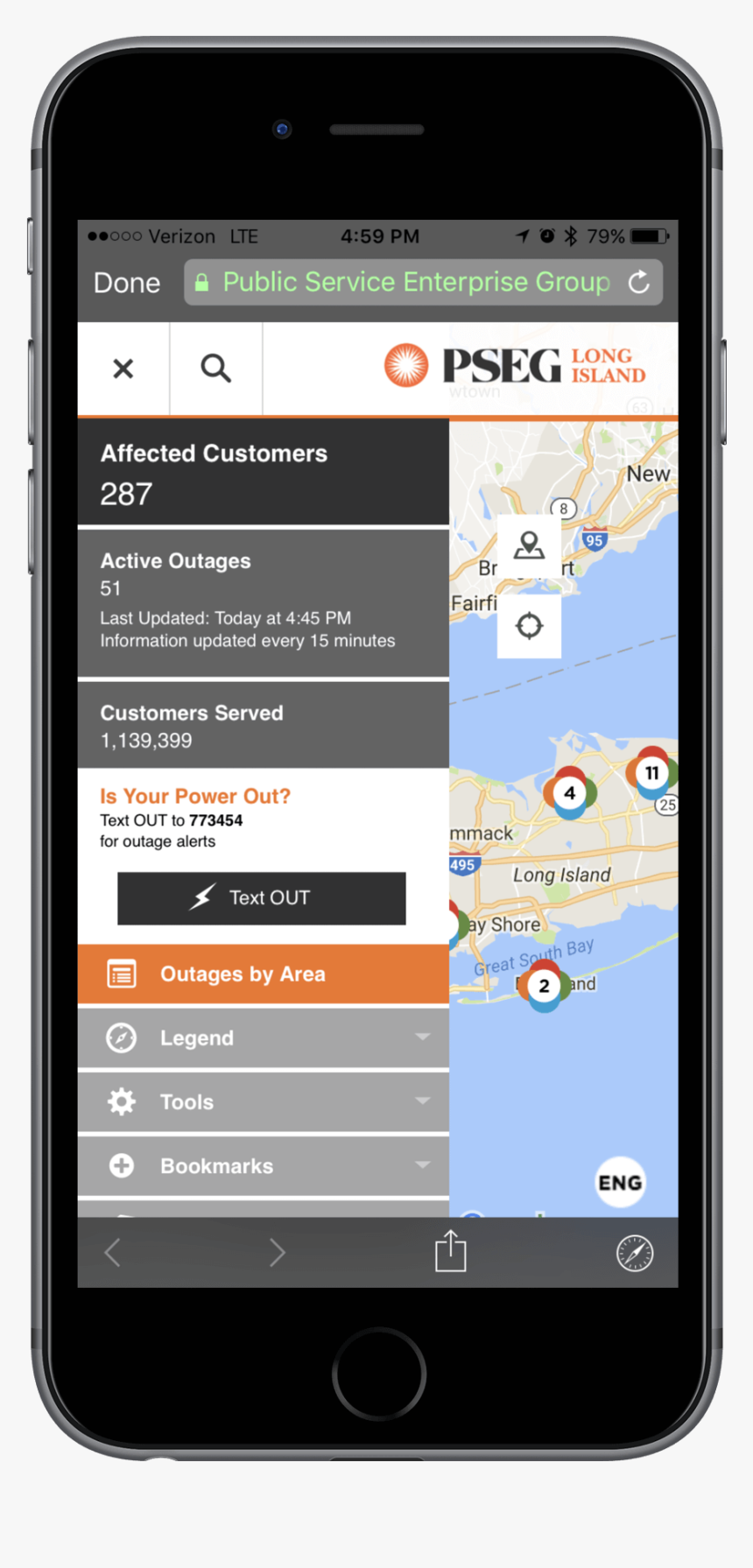 Pseg Long Island Mobile Outage Map - Pseg, HD Png Download ...