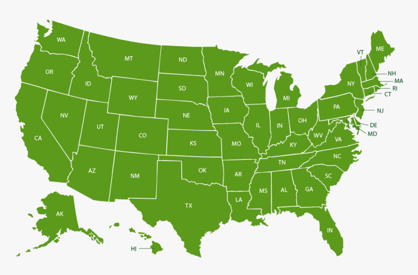 Green Map Of The United States, HD Png Download , Transparent Png Image -  PNGitem