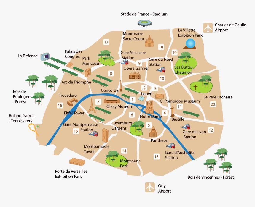 Paris Main Sightseeing Map - L Arc De Triomphe ...