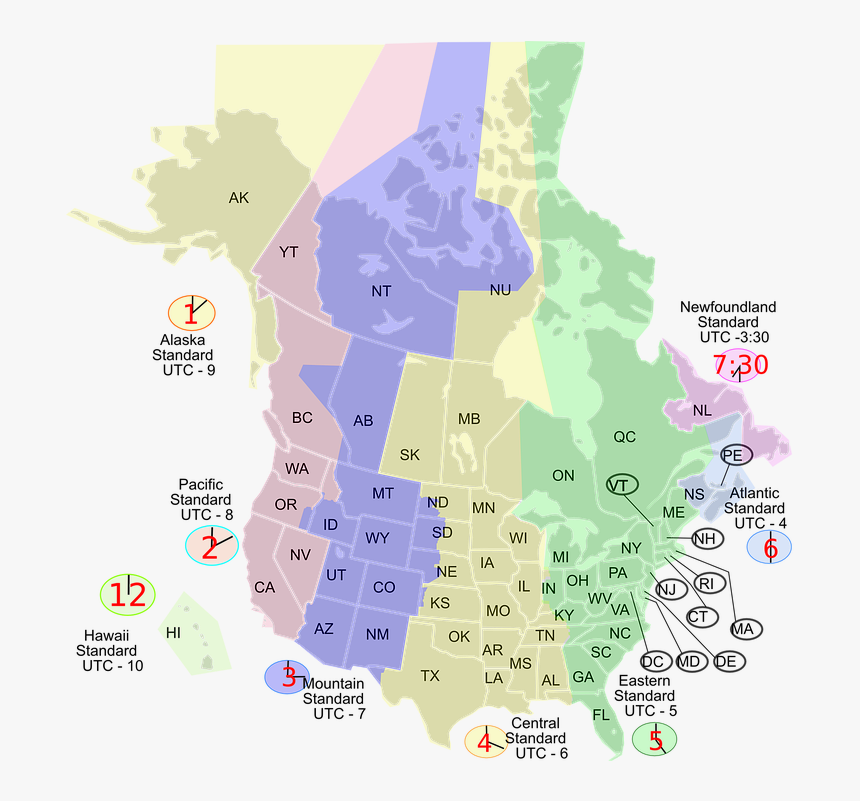 A Map Of Us Time Zones During Cst - Time Zone Map Us Canada ...
