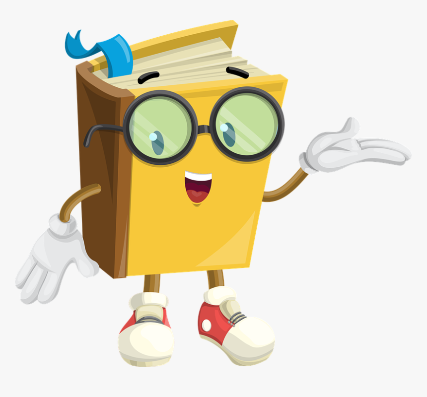 Book, Character, Glasses, Show, Showcase, Cute, Paper - Cartoon Book With Face, HD Png Download