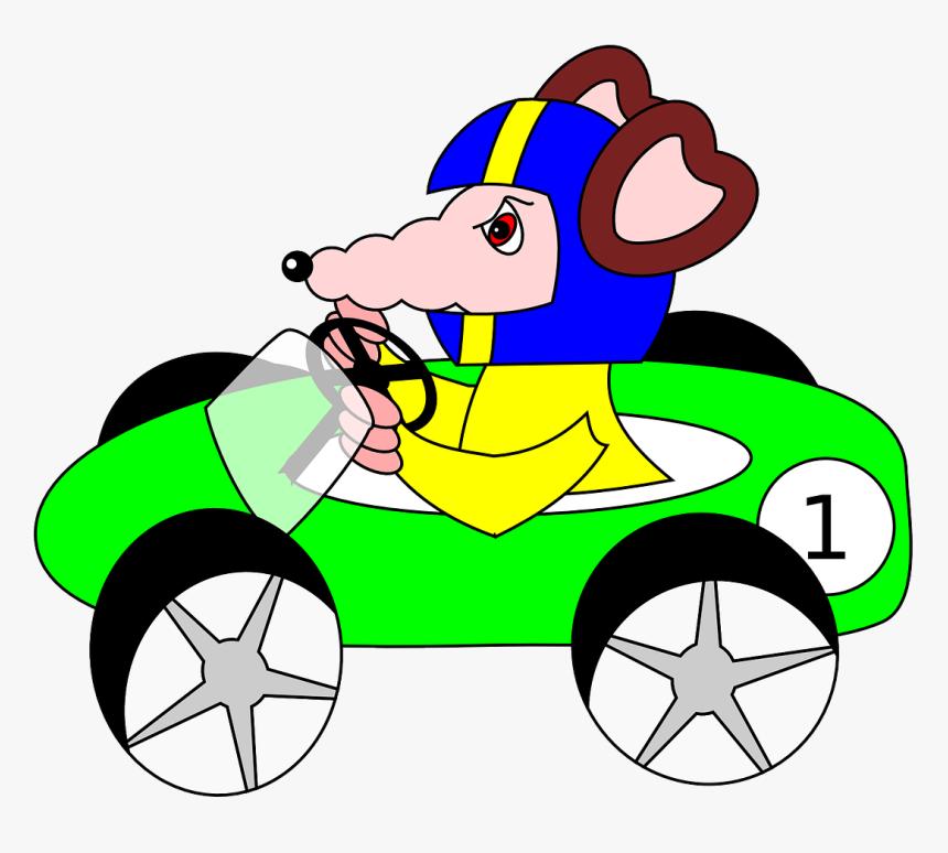 Rat Carro Carro De Corrida Verde Desenhos Animados Rat In A