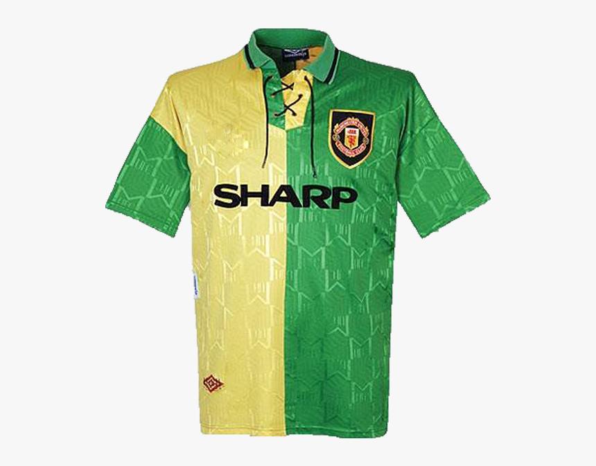1992 1994 Manchester United Third Green Gold Shirt 2019 2020 Man Utd Away Kit Hd Png Download Transparent Png Image Pngitem