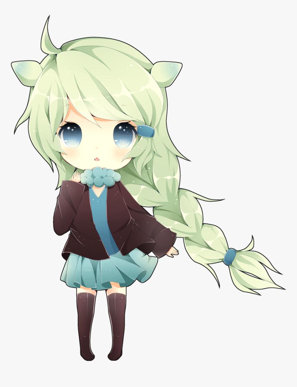 Chibi Girl Green Hair , Png Download - Cute Green Anime Girl