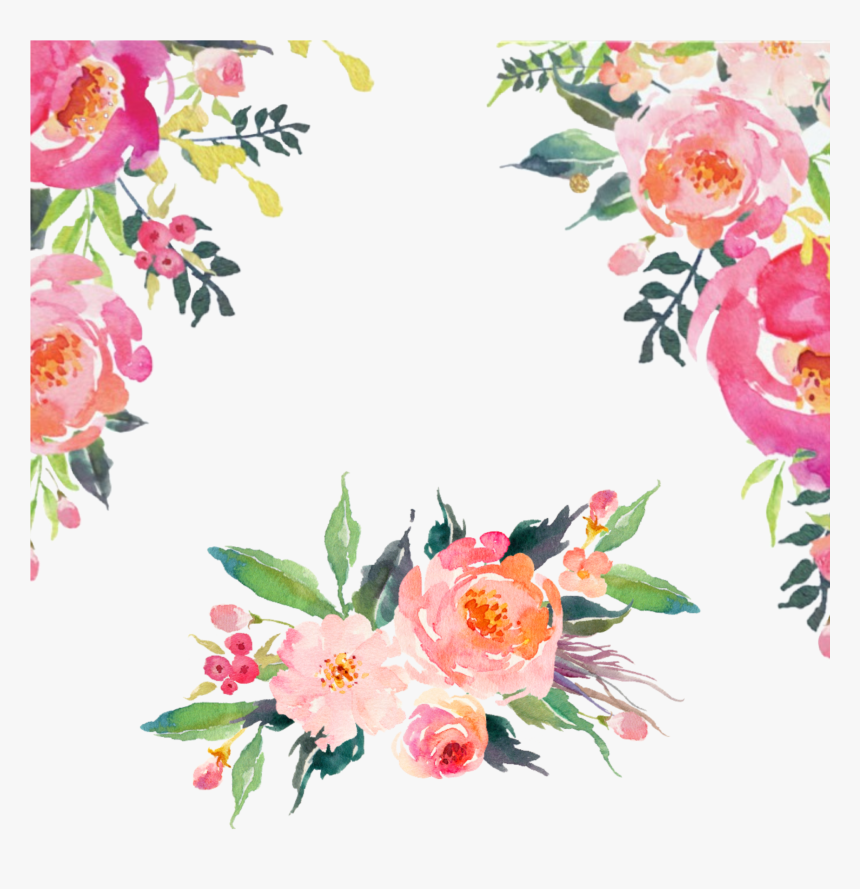 watercolor floral flowers corner frame border