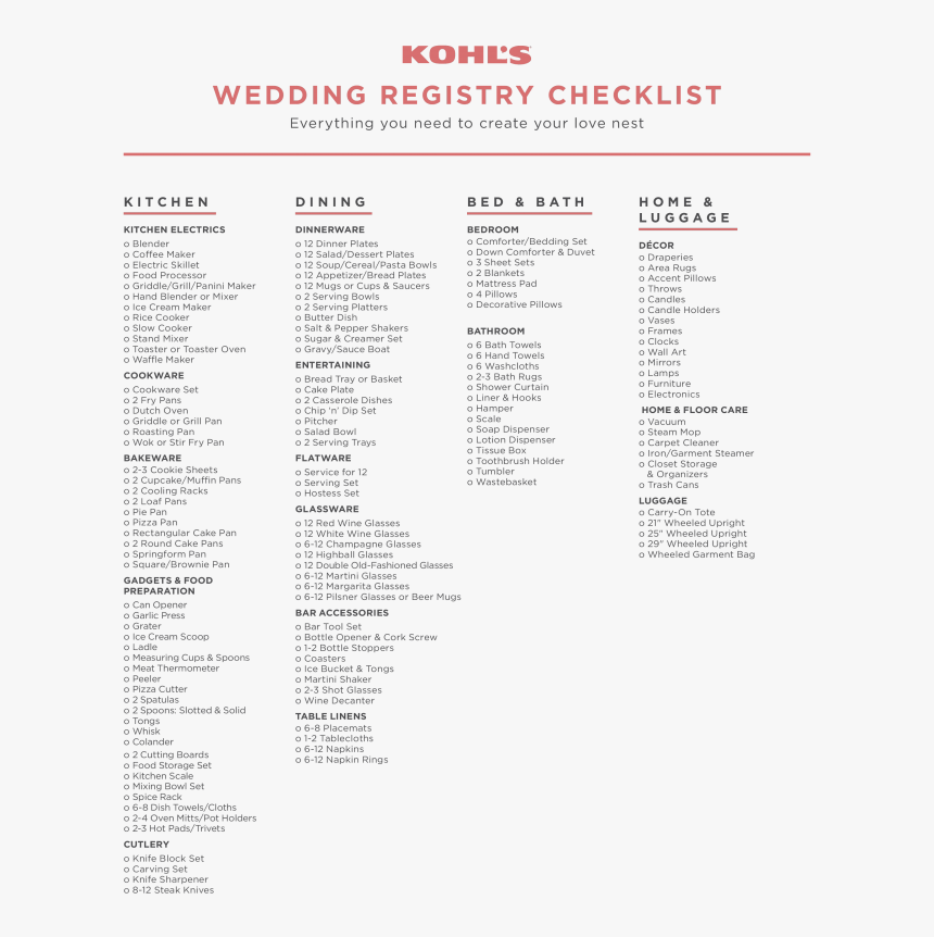 Free Printable Wedding Registry Checklist Templates