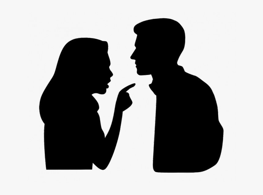 Couple Arguing Silhouette - Woman Pointing At Man, HD Png Download ...