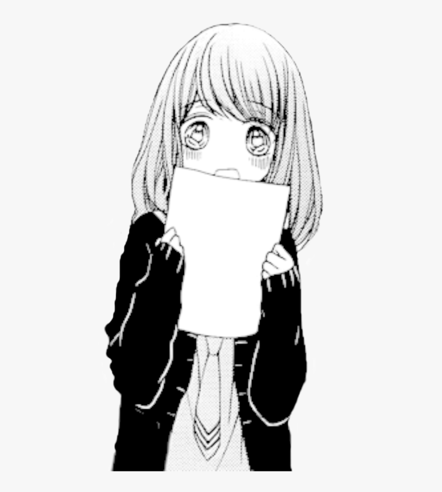 Manga Girl Png Clipart - Black And White Anime Transparent, Png