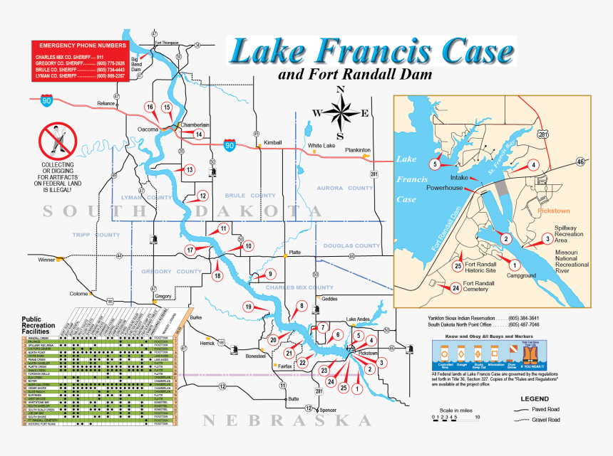 lake francis case map Fort Randall Recreation Brochure Maps Lake Francis Case On Us lake francis case map