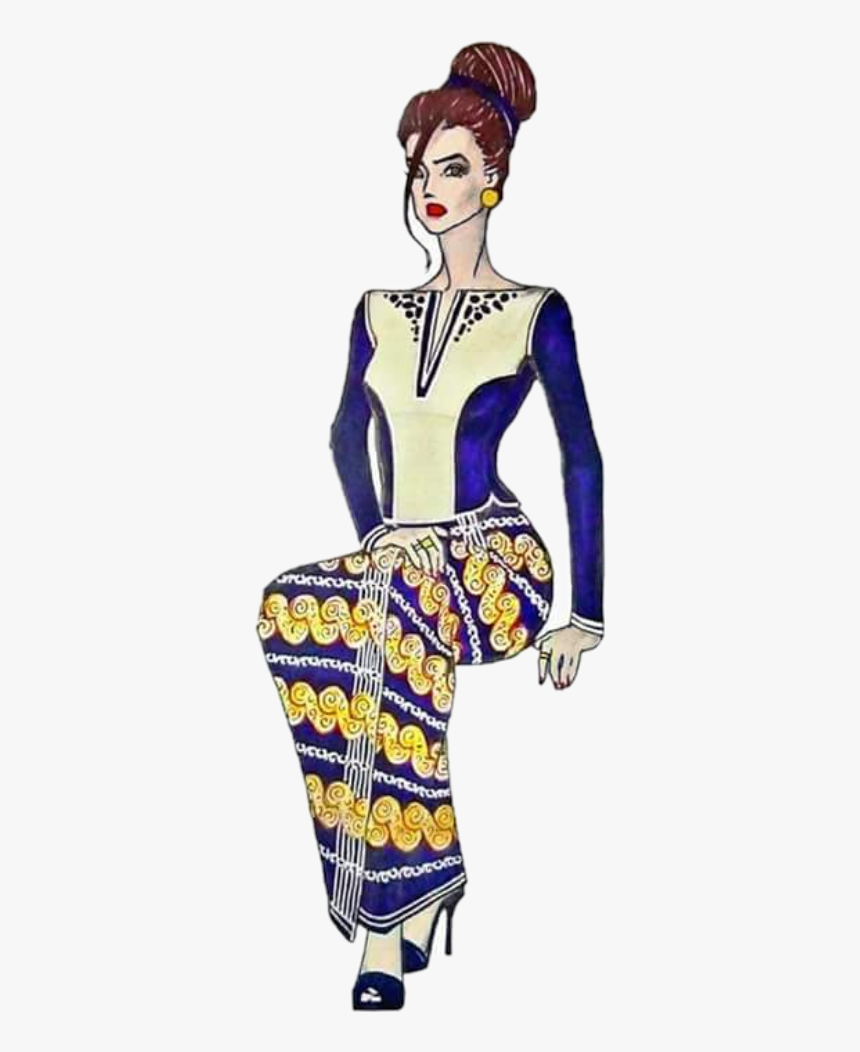 Myanmar Girl Traditional Dress Myanmar Traditional Dress Illustration Hd Png Download Transparent Png Image Pngitem