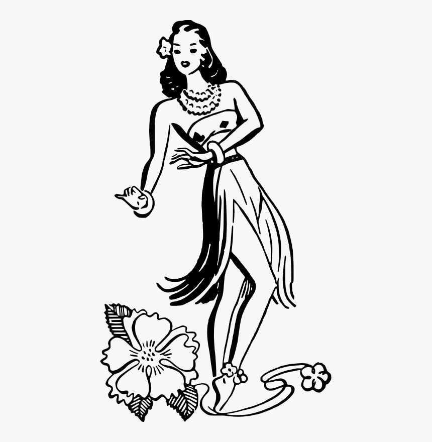 Hula Dancer Clip Art Retro Vintage Hula Girl Hd Png Download Transparent Png Image Pngitem