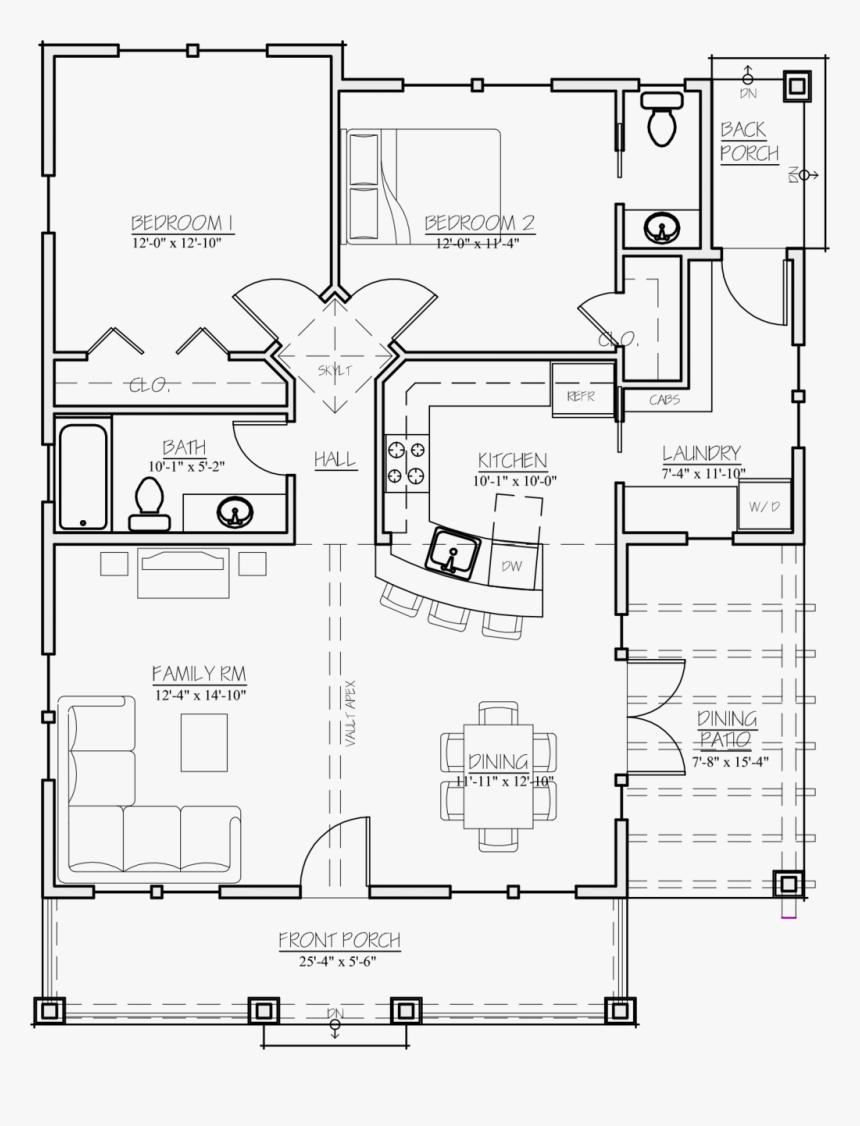 2 Bedroom 1.5 Bath House Plans, HD Png Download , Transparent Png ...