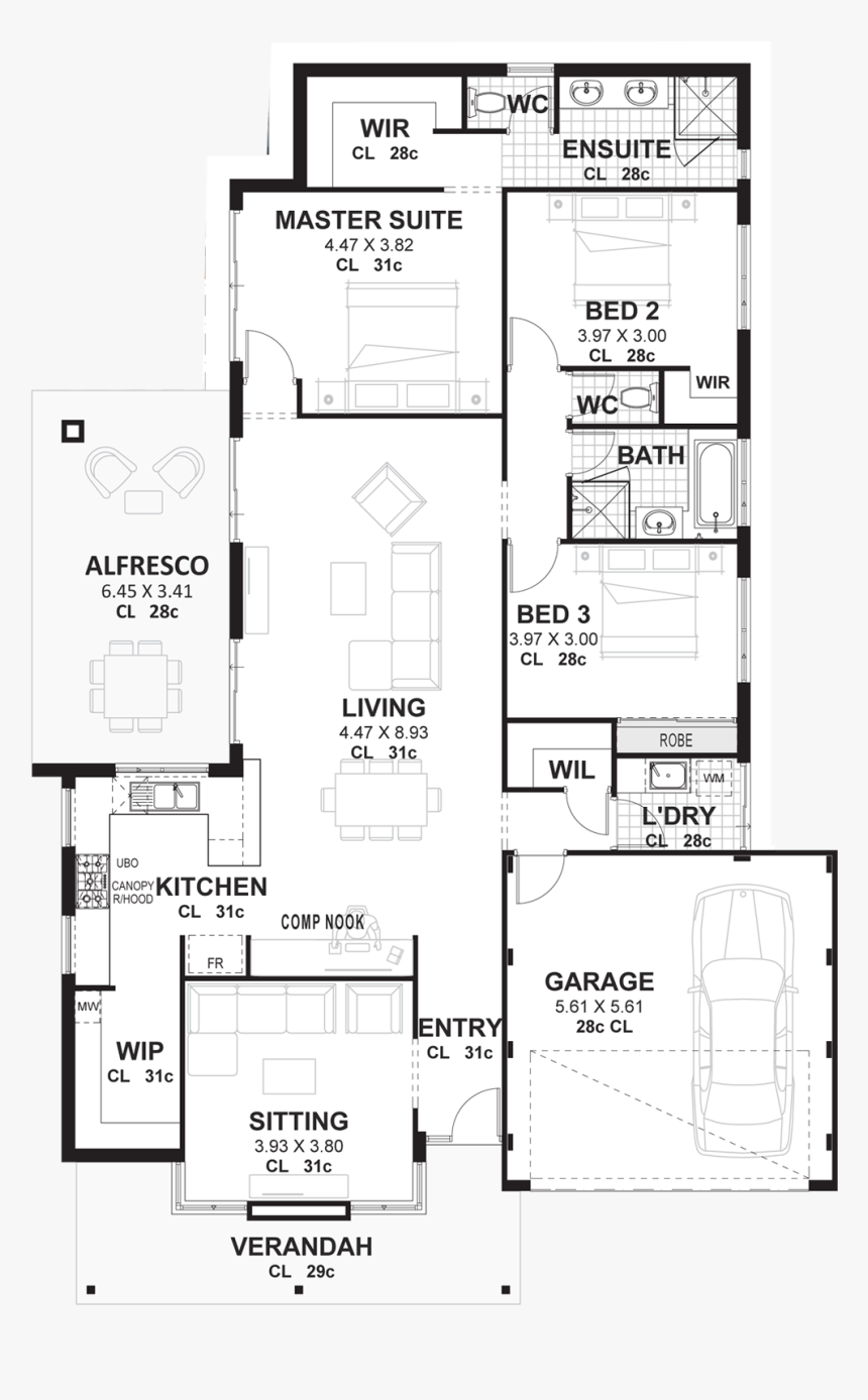 Floor Plan Of A 3 Bedroom House Hd Png Download Transparent Png Image Pngitem
