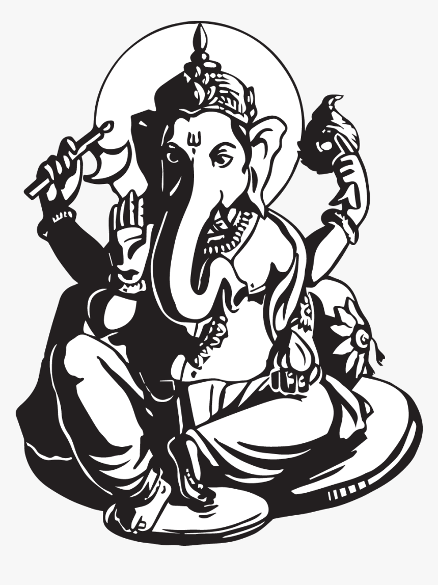 Ganesha Wall Decal Canvas Drawing Ganesh Chaturthi Related Drawing Hd Png Download Transparent Png Image Pngitem