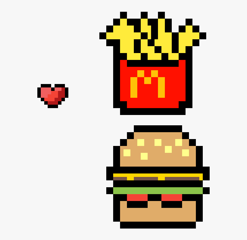 Mcdonalds Burger And Fries Clipart Transparent Png Pixel Pac Man