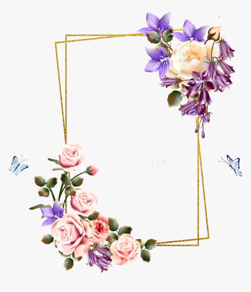 rose square flower floral frame butterfly gold nogizaka46 hd png download transparent png image pngitem rose square flower floral frame