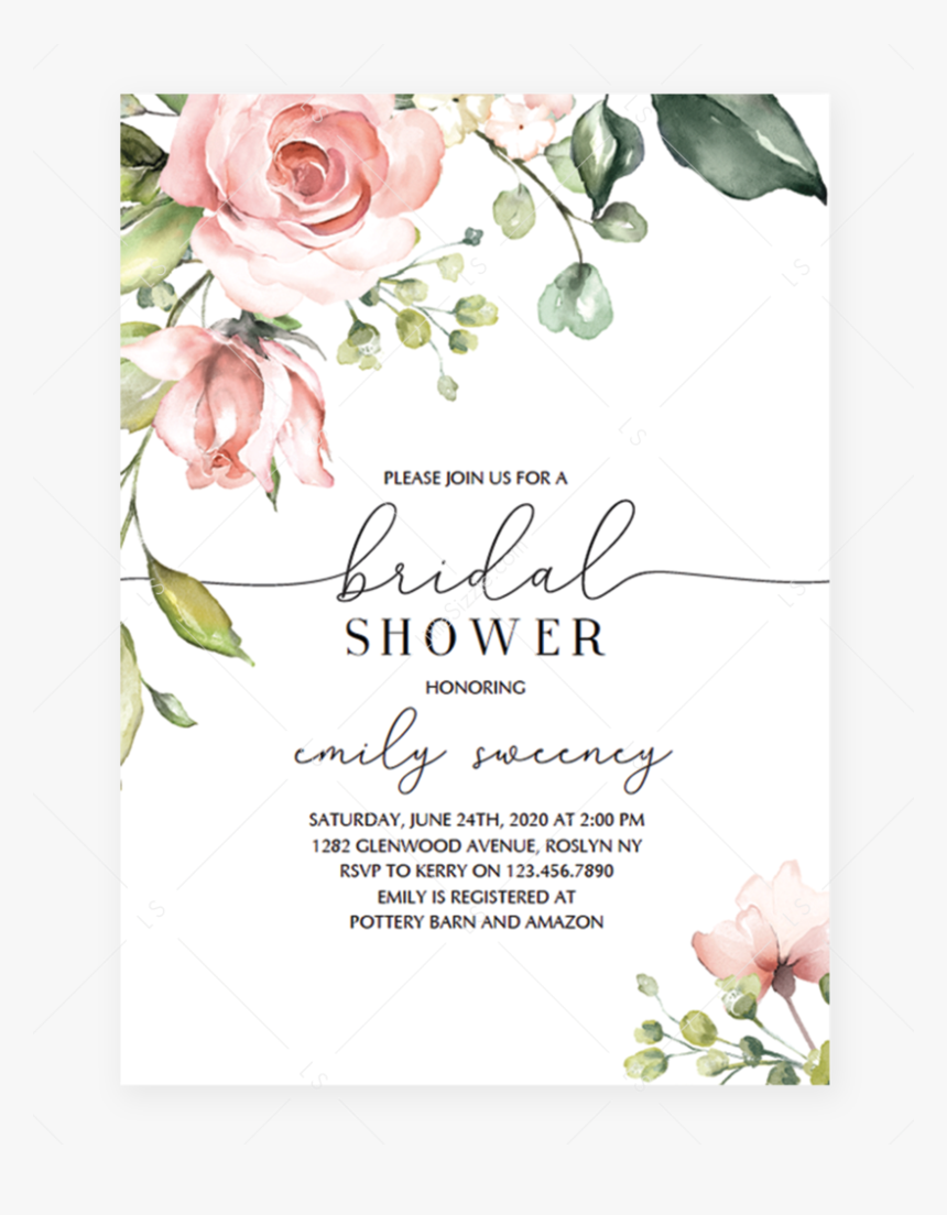 Free Floral Baby Shower Invitation Template, HD Png ...