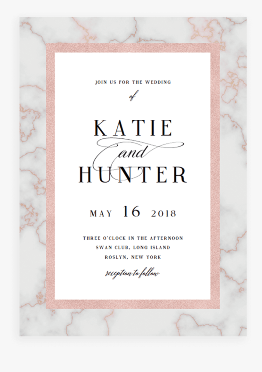 Marble And Rose Gold Wedding Invitation Cards Template - Paper, HD Png  Download , Transparent Png Image - PNGitem