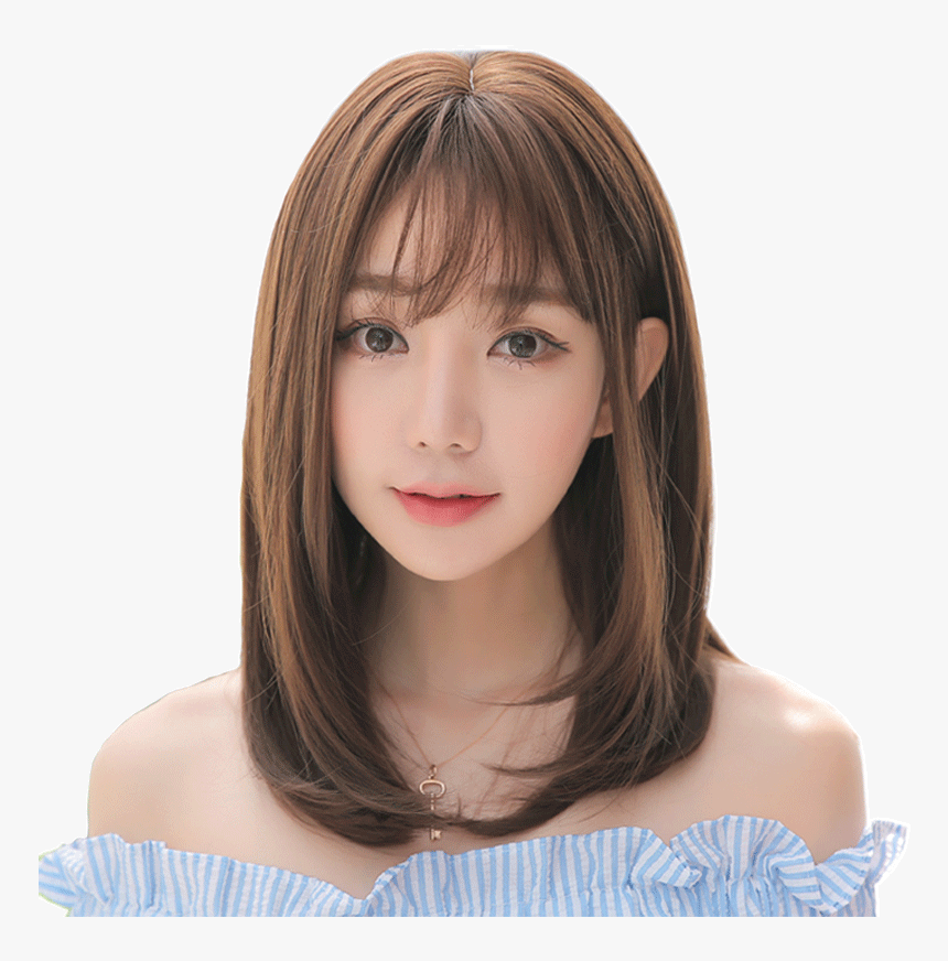 Female Short Hair Wig With Long Straight Hair Fluffy Full Bangs Round Face Straight Hair Hd Png Download Transparent Png Image Pngitem