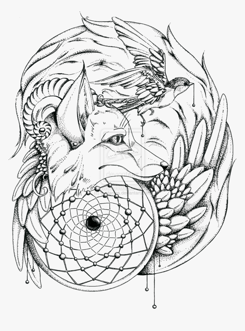- Wolf Dream Catcher Coloring Pages, HD Png Download , Transparent