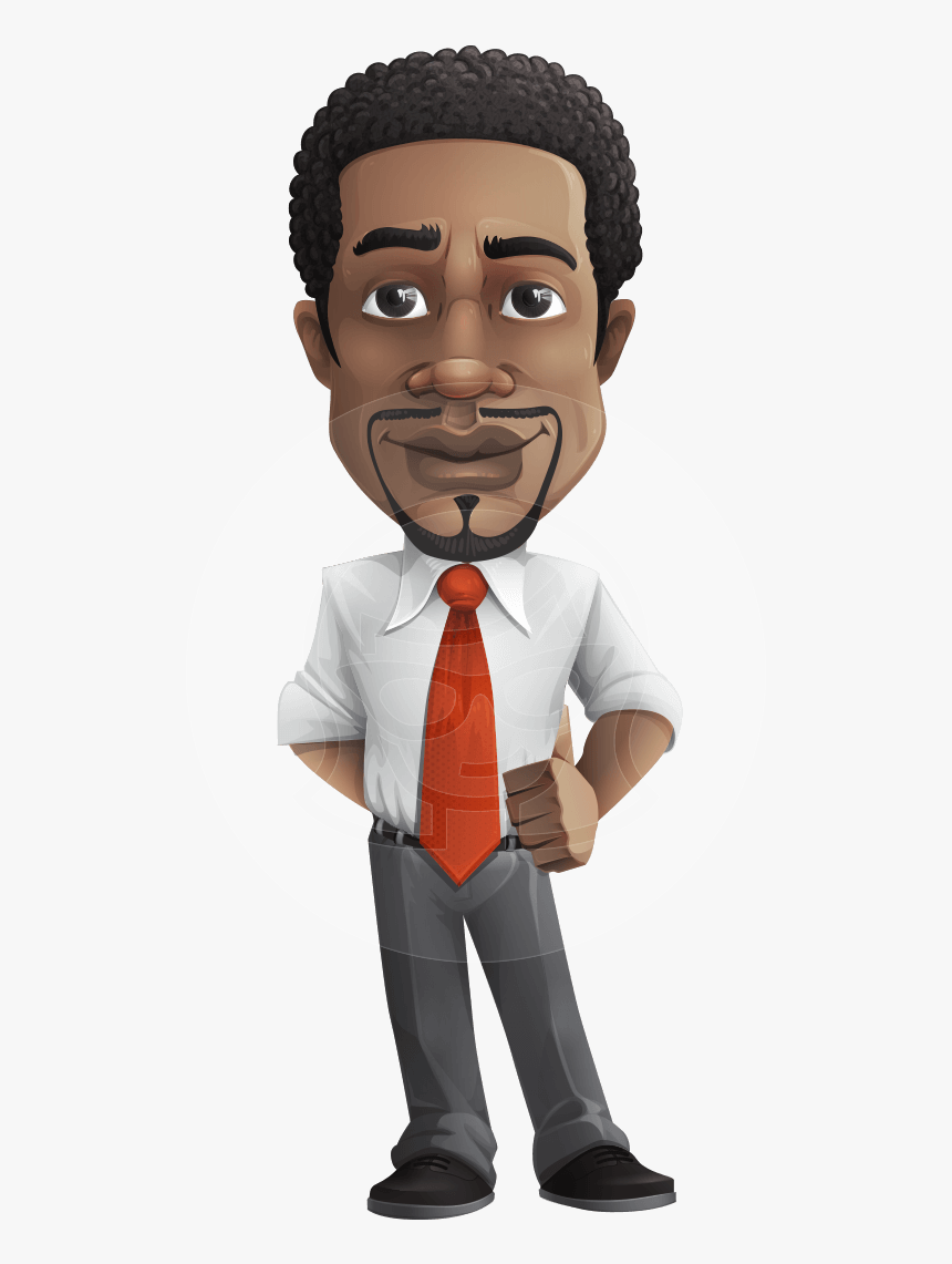 African American Male Character With A Black Hair African