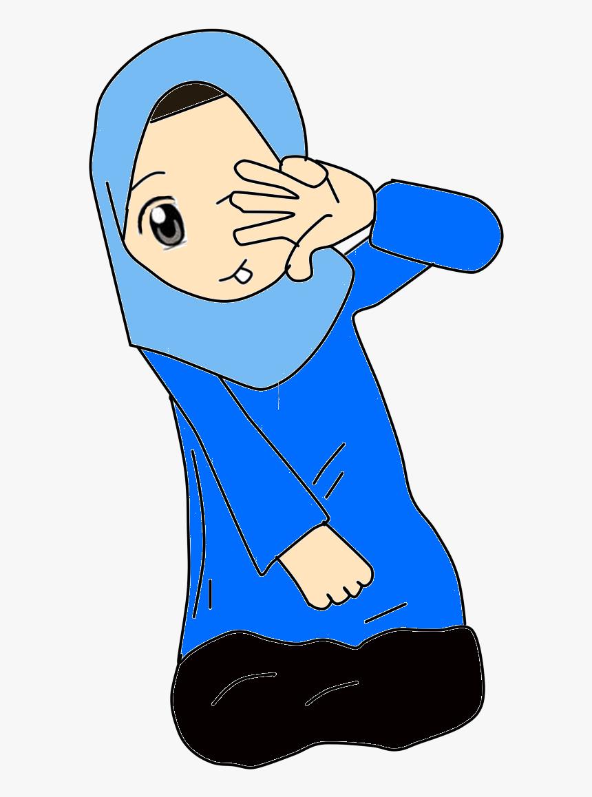 Yanishihye Doodles Gambar Kartun Muslimah Warna Biru