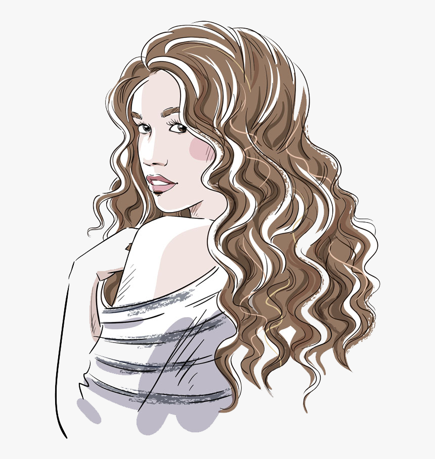 Drawing Girl Curly Hair Girl With Curly Hair Drawing Hd Png Download Transparent Png Image Pngitem