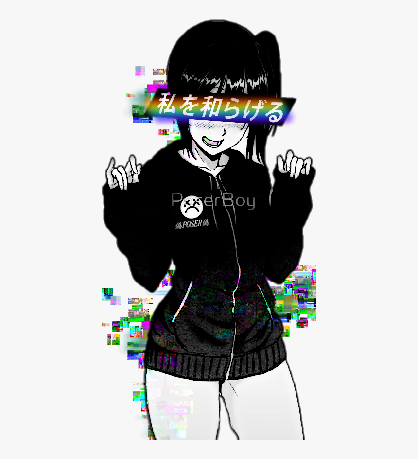 Anime Aesthetic Pastel Grunge Grungeaesthetic Black And White Vaporwave Anime Girl Hd Png Download Transparent Png Image Pngitem