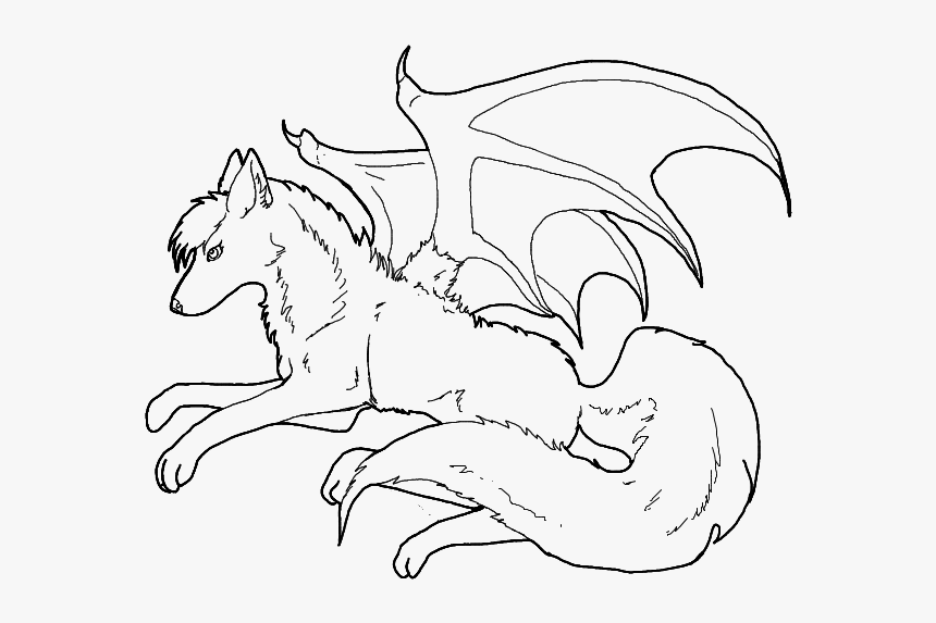 - Anime Wolf Coloring Pages To Print Wolves With Wings - Line Art, HD Png  Download , Transparent Png Image - PNGitem