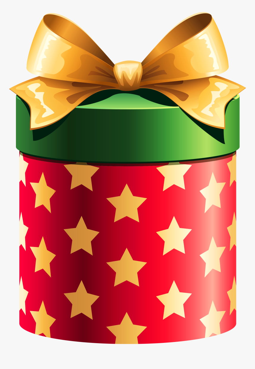 Round Red Gift Box With Gold Stars Clipart Christmas Gift Clipart Hd Png Download Transparent Png Image Pngitem