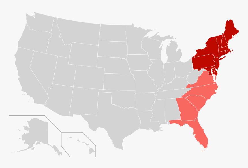 Us Map-east Coast - Us Senate Map 2019, HD Png Download ...