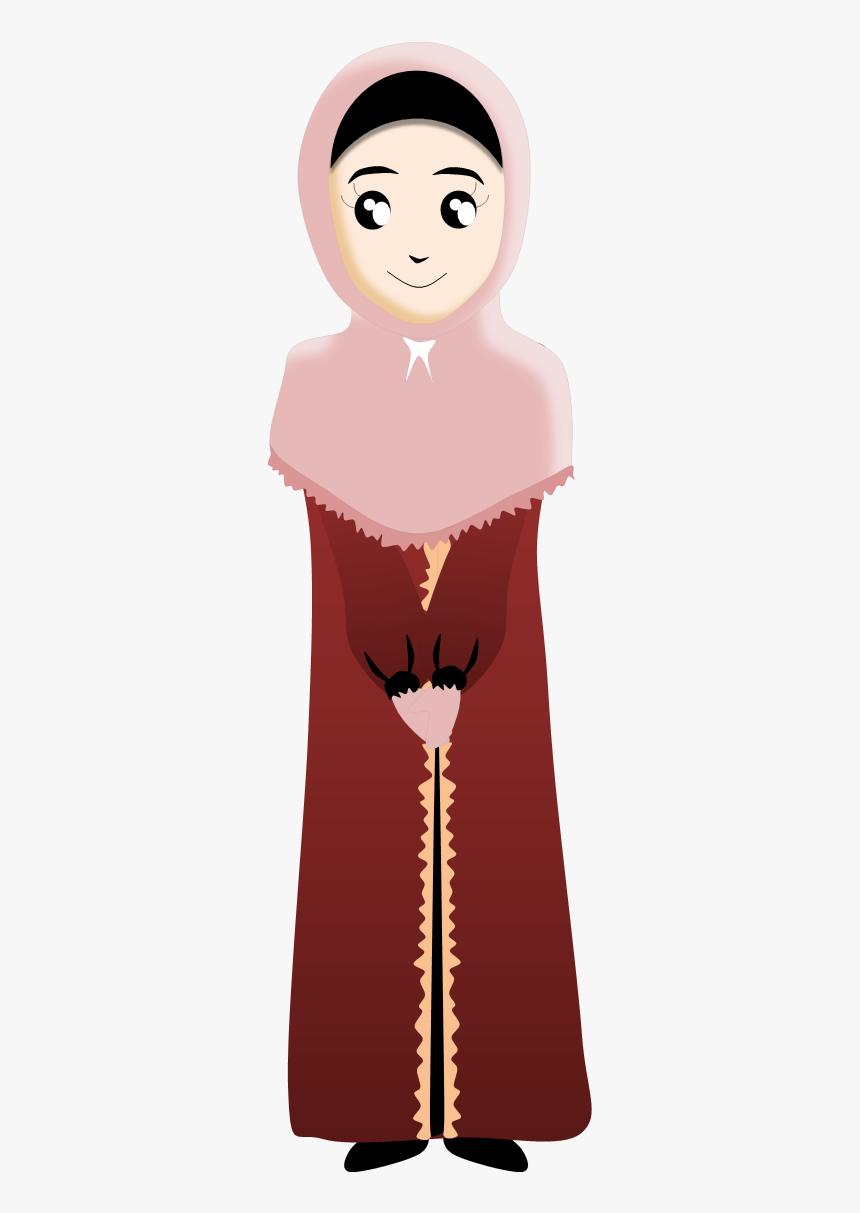 Kartun Muslim Berdiri Clipart Png Download Kartun Muslimah Berjubah Transparent Png Transparent Png Image Pngitem