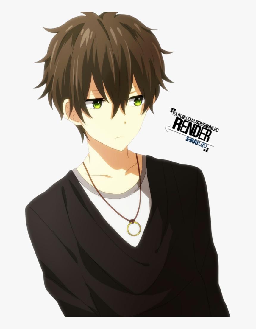 Anime Boy Eyes Anime Boy Brown Hair Green Eyes Hd Png Download Transparent Png Image Pngitem