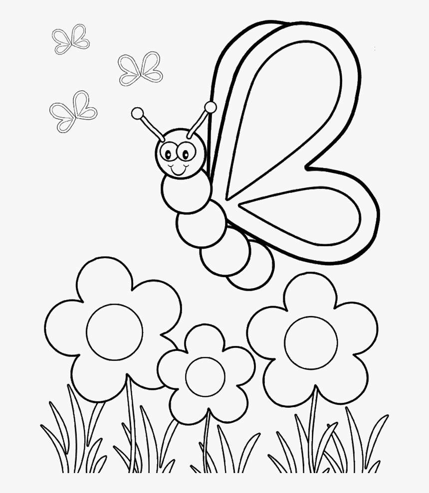 - The Butterfly Flew Over The Flower Coloring Kids - Preschool