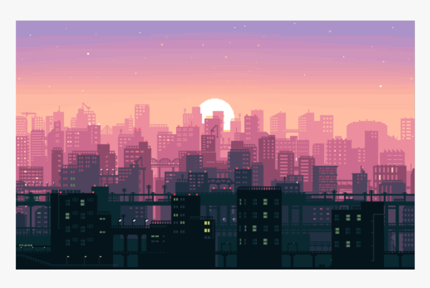 City Pixel Game Sunset Background Vaporwave Freetoedit