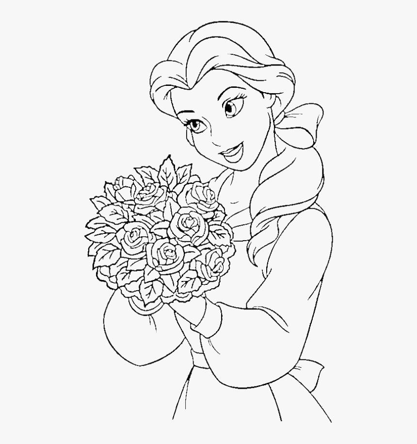 Princess Belle Carry Flowers Coloring Pages Disney Princess Clipart Black And White Hd Png Download Transparent Png Image Pngitem