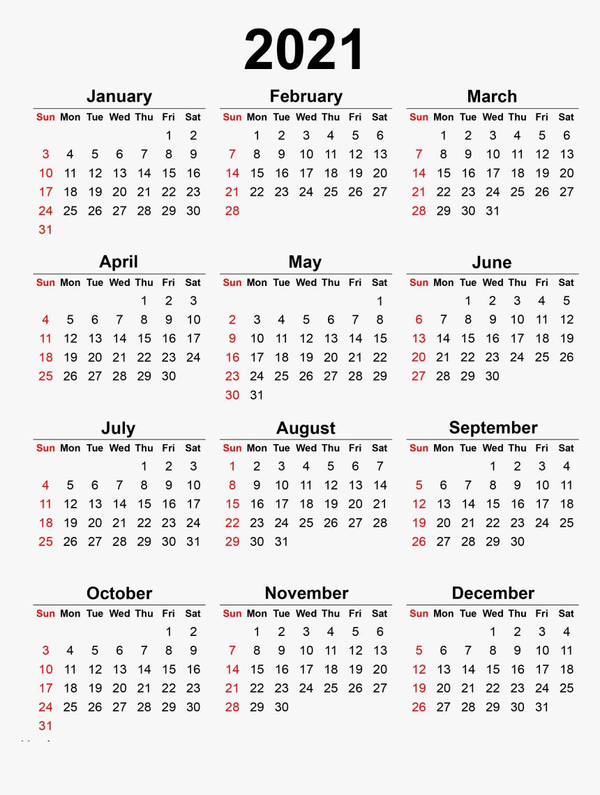 Calendar 2021 Transparent Background Png - 2020 Printable ...