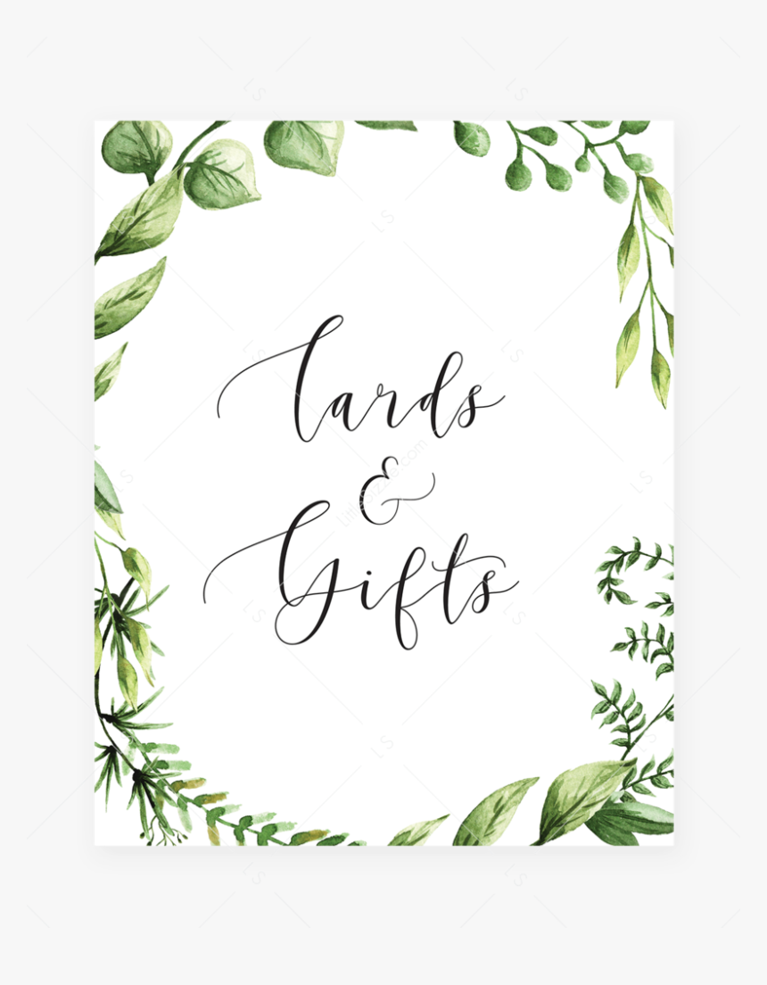 Greenery Party Decor Printable Cards And Gifts Table Free Printable Baby Shower Sign Hd Png Download Transparent Png Image Pngitem